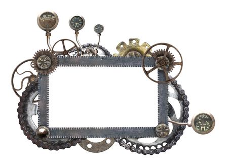 Metallic frame with vintage machine gears and retro cogwheel. Isolated on white background. Mock up template. Copy space for text. Can be used for steampunk and mechanical design Stock Photo