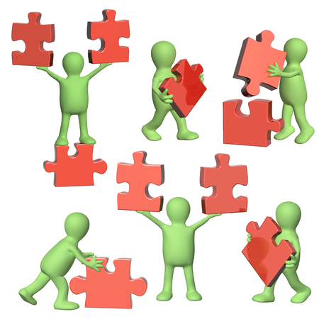 Success of teamwork. Set of 3d mans of green color with part of puzzles of red color. Isolated on white background. 3d render