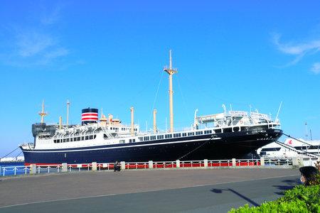 Yokohama, Japan - 5 April 2019: Ship Hikawa Maru, Japanese ocean liner berthed as a museum ship