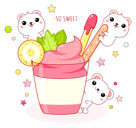 Cute yummy card in kawaii style. Lovely polar bears with strawberry ice cream. Inscription So sweet. Illustration