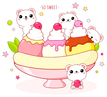 Cute yummy card in kawaii style. Lovely polar bears with banana split. Inscription So sweet. EPS8  イラスト・ベクター素材
