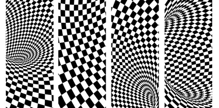 Abstract illusion. Set of vertical or horizontal banners with geometric checkered pattern of black and white colors. 3d render Foto de archivo - 123107742