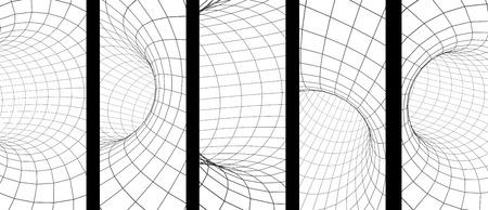 Ensemble de bannières verticales ou horizontales avec tunnel abstrait à partir d'une grille de couleur grise. Isolé sur fond blanc. rendu 3D