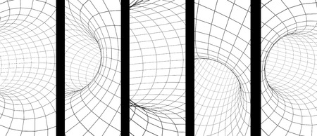 Set of vertical or horizontal banners with abstract tunnel from a grid of grey color. Isolated on white background. 3d render