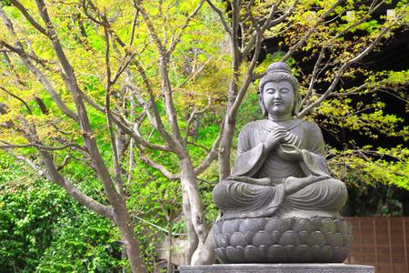 Stone statue of meditating Buddha, Hasedera (Hase-dera) temple, Kamakura, Kanagawa prefecture, Japan