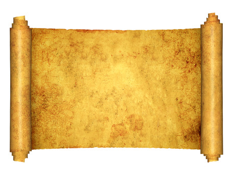 Old parchment. Isolated on white background. Copy space for your text. Mock up template. 3d render