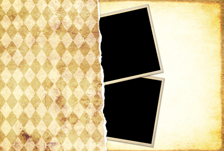 Grunge background with old paper texture of beige and yellow colors and retro photos. Mock up template. Copy space for text. Can be used for scrapbooking design