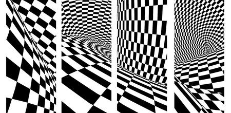 Streszczenie iluzja. Zestaw pionowych lub poziomych banerów z geometrycznym wzorem w kratkę w czarno-białych kolorach. renderowania 3D