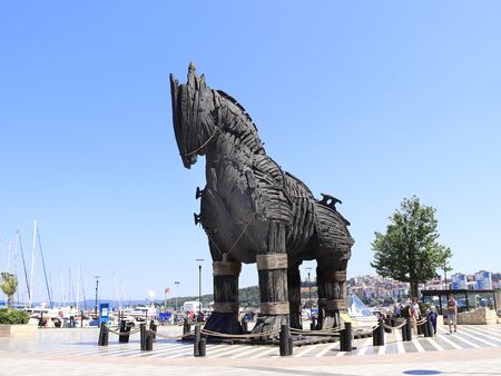 Canakkale, Turkey - June 16, 2019 : Trojan Horse. After filming of movie