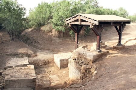 Bethany beyond the Jordan - place where Jesus was baptised by John the Baptist in the Jordan River, Middle East Stock Photo