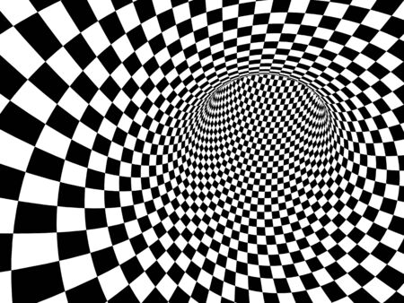 Abstract illusion. Geometric background with checkered texture of black and white colors. 3d render 写真素材