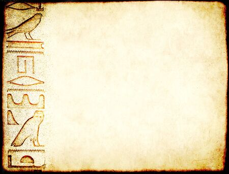 Grunge background with paper texture and detail of ancient egyptian hieroglyphs. Copy space for text. Mock up template