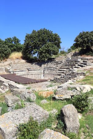 Odeon (Bouleuterion), small concert theatre and the Assembly House in ancient Troy city, Canakkale Province, Turkey.
