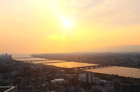 Aerial view on Osaka and bridges on Yodo River (Yodo-gawa, Seta River, Uji River), Japan. View from Umeda Sky Building