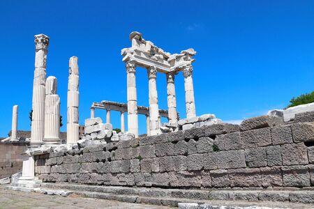 Ruins and columns of Temple of Trajan at Acropolis of Pergamon, Turkey.