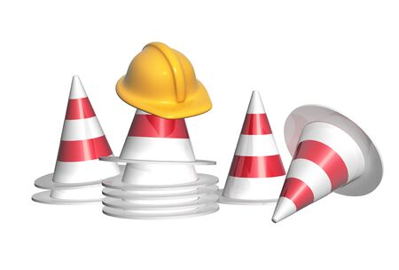 Repair concept. Road cones and construction helmet. Objects isolated on white background. 3d render Foto de archivo