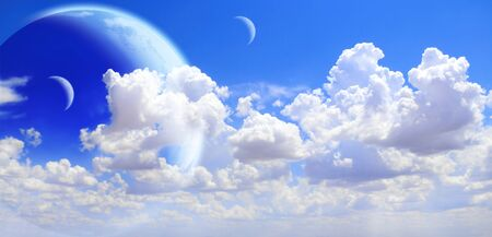 Fantastic sky with white clouds and three planets. Elements of this image furnished by NASA. 3d render Stock Photo