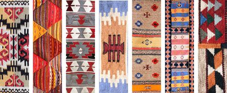 Set of banners with textures of old wool carpet with geometric ethnic pattern