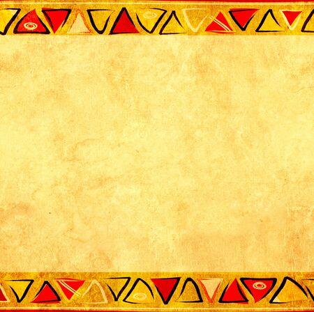 Fondo de grunge con adornos de origen étnico y textura de papel viejo. Simulacros de plantilla. Copiar espacio para texto Foto de archivo