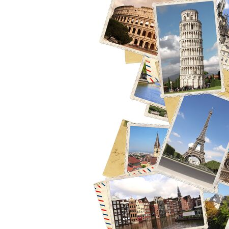 Vintage photos of european landmarks. Eiffel tower in Paris, Leaning Tower of Pisa, Colosseum in Rome, old houses in Amsterdam. Isolated on white background. Copy space for text. Mock up template 写真素材