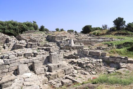 Ruins of gate in ancient Troy city (Homer's Troy), Canakkale Province, Turkey.