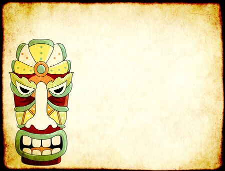Grunge horizontal background with old soiled paper texture and tiki tribal mask. Copy space for text. Mock up template