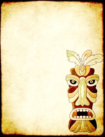 Grunge vertical background with old soiled paper texture and tiki tribal mask. Copy space for text. Mock up template