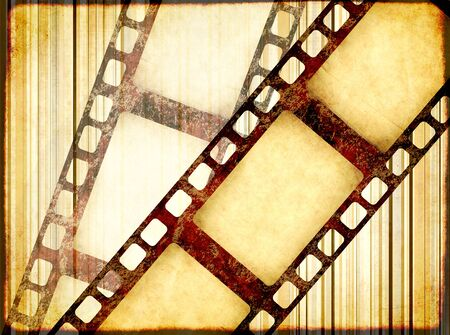 Grunge horizontal background with retro filmstrips and old paper texture with striped pattern. Copy space for text. Mock up template