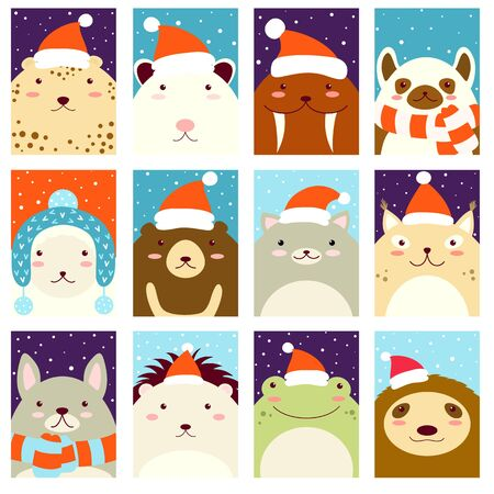 Set of Christmas vertical gift tag, card, badge, sticker with cute animals in Santa hat and scarf. Vector template card for greeting, decoration, congratulation, invitation. EPS8 Çizim