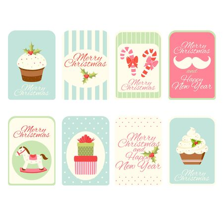 Set of Christmas vertical gift tag, card, badge, sticker in retro style. Inscription - Merry Christmas and Happy New Year. Vector template card for greeting, decoration, congratulation, invitation. EPS8 Ilustração
