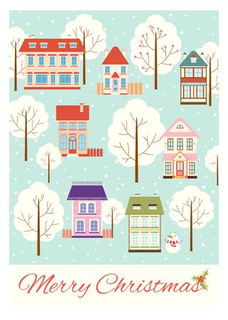 Vertical Christmas card with cute houses in retro style. Background, flyer, placard with xmas scene. Vector template card, sticker for New year greeting, decoration, congratulation. EPS8