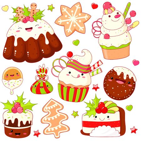 Set of cute Christmas sweet icons in kawaii style with smiling face and pink cheeks. Pudding, cake, gingerbread, cookies, cupcake. EPS8 Ilustração