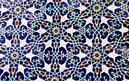 Detail van traditionele Perzische mozaïekmuur met bloemenornament, Iran Stockfoto