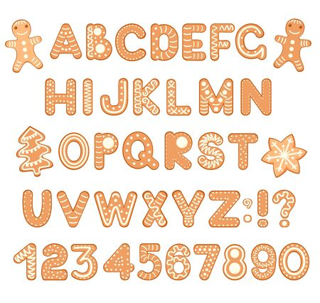 Font alphabet and numbers from gingerbread holiday cookies decorated glazed sugar. For Christmas or New Year winter design. EPS8 Ilustração