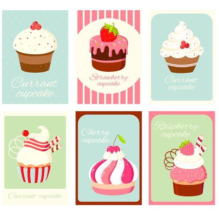 Cupcake bakery shop in retro style. Set of vintage vertical card, gift tag, badge, label with currant, cherry, raspberry and strawberry cupcakes. EPS8