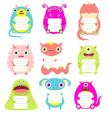 Set of cute cartoon monsters with memo pads. Labels for scrapbooking. Vector template collection for menu,  information, greeting, decoration, congratulation, invitation. EPS8