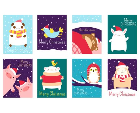 Set of vertical Christmas banner, flyer, placard. Xmas poster, sticker. Vector template card, gift tag, badge for greeting, decoration, congratulation, invitation with cute animal in Santa hats