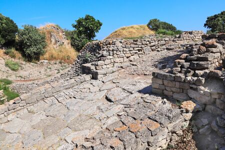 Stone road in ancient Troy city, Canakkale Province, Turkey.