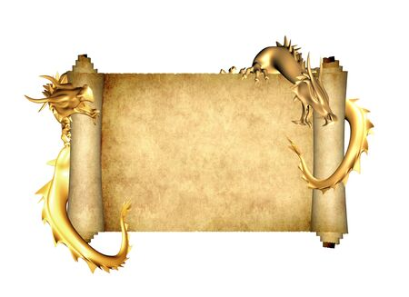 Two golden dragon and scroll of old parchment. Object isolated on white background. Mock up template. Copy space for text. 3d render Stock Photo