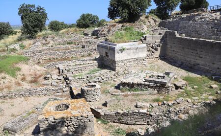 The ruins of an apartment building in ancient Troy city, Canakkale Province, Turkey. Stock Photo