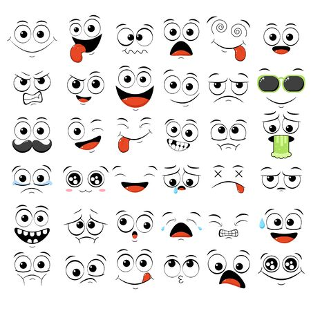 Collection of emoticons with different mood. Set of smile cartoon emoji faces in different expressions - happy, sad, cry, fear, crazy. On white background. EPS8