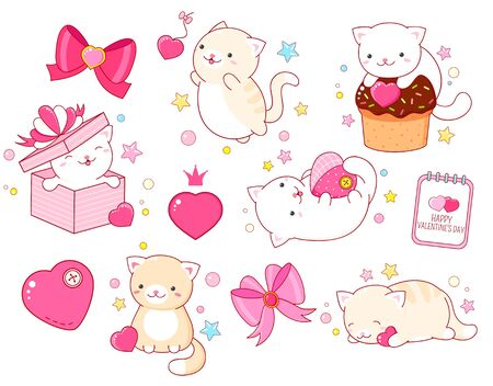 Valentines day vector stickers collection. Set of cute cats in kawaii style in different situations eating, sleeping, jumping, playing. EPS8