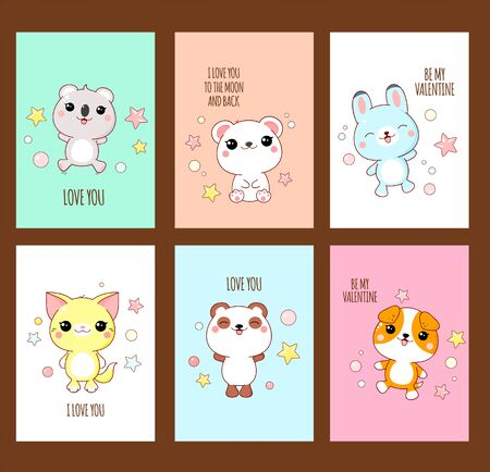 Valentines day vector stickers collection. Set of cards with cute white animals in kawaii style. Inscription - be my Valentine, I love you, I love you to the moon and back. EPS8