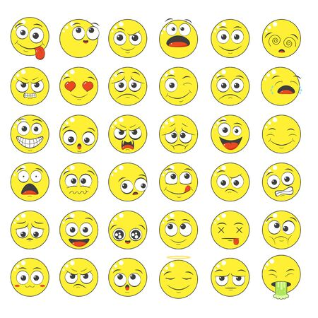 Collection of emoticons with different mood. Set of smile cartoon emoji faces in different expressions - happy, sad, cry, fear, crazy. On white background. EPS8 Foto de archivo - 137557544