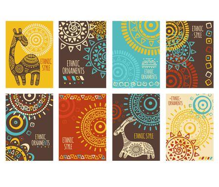 Zestaw transparentu etnicznego, tła, ulotki, afisz z plemiennymi ornamentami w kolorach czerwonym, żółtym, niebieskim i brązowym. Plakat pionowy wektor, karta szablon, naklejka z geometrycznymi wzorami i zwierzętami. EPS8 Ilustracje wektorowe