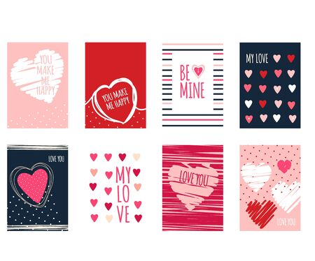 Be my Valentine. Set of Valentine's day banner, background, flyer, placard with hearts. Holiday poster, vector template card, sticker for greeting, decoration, congratulation, invitation. EPS8