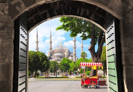 View through the old gate on Blue mosque (Sultan Ahmet mosque) and traditional turkish chestnut and corn cart, Sultanahmet Square, Istanbul, Turkey Banco de Imagens