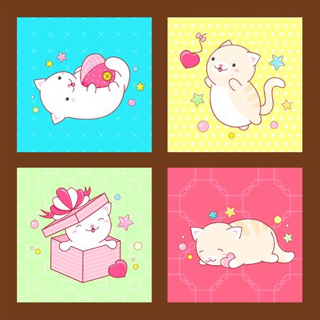Valentines day vector stickers collection. Set of square cards with cute cats in kawaii style in different situations - sleeping, jumping, playing. EPS8