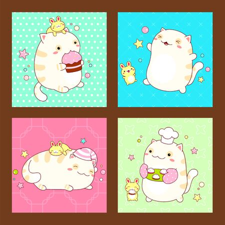 Collection of stickers or square cards with cute friends. Cat and rabbit in kawaii style in different situations eating, sleeping, running, playing. EPS8