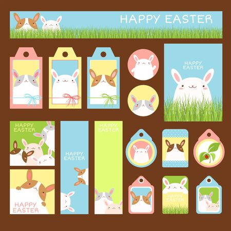 Happy Easter collection. Banner, flyer, placard, gift tag, card, badge, sticker with cute rabbits. Holiday poster, vector template set for greeting, decoration, congratulation, invitation